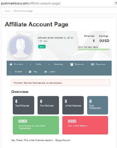 Affiliate Account Page